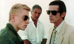 Tim Roth, Terence Stamp and Hurt in Stephen Frears' 1984 crime thriller, The Hit
