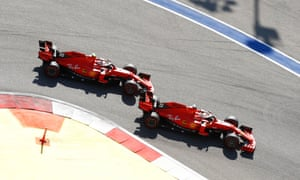 Sebastian Vettel (right) defied team orders to beat his Ferrari teammate in Russia.
