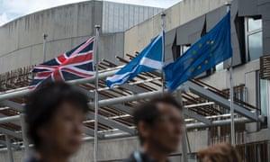 A union flag, Scottish saltire and EU flag in Edinburgh