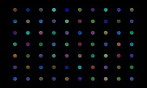 A series of colours spots in a grid, all showing the twinkling star of Venus.