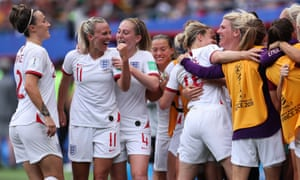 England players celebrate the victory over Cameroon that saw them qualify for Thursday's quarter-final