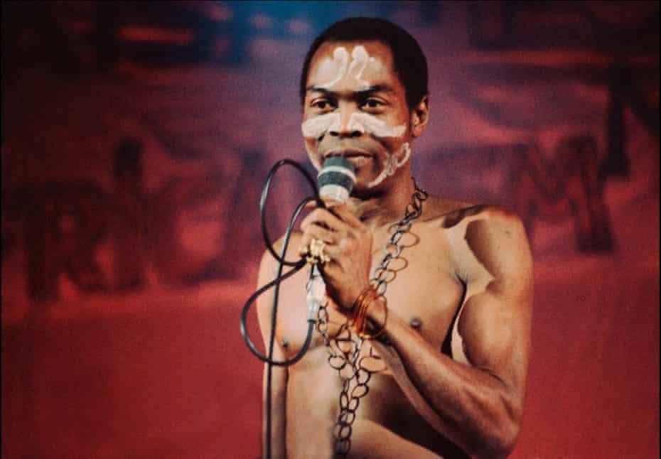 Fela Kuti performing at Brixton Academy, London, 1983.
