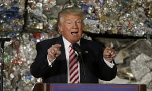 Donald Trump on the campaign trail in June at a metals recycling facility in Monessen, Pennsylvania