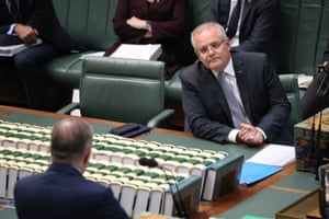 The Prime Minister Scott Morrison during question time in the house of representative