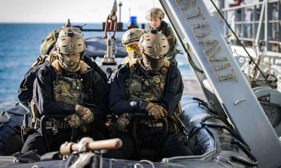 Royal Marines taking part in training exercises with HMS Tamar earlier this month