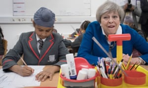 Theresa May at a primary school in Birmingham.