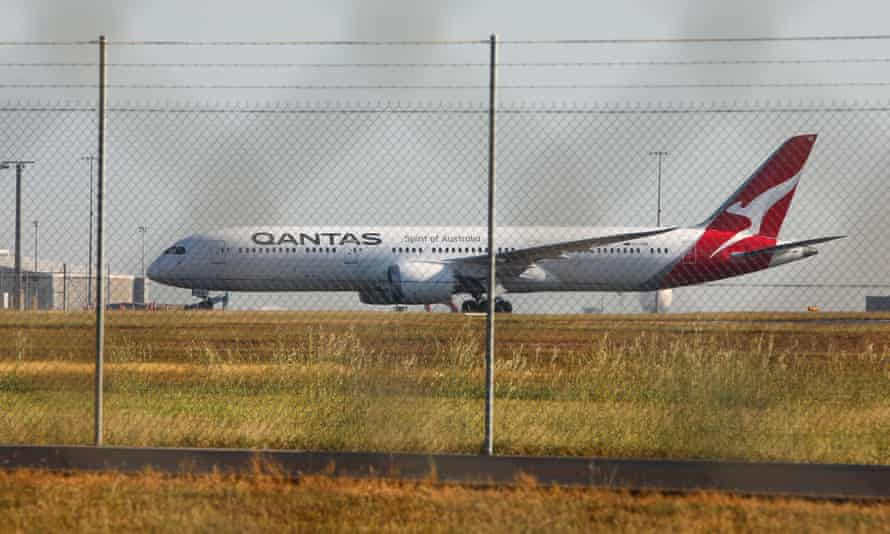A Qantas repatriation flight from New Delhi lands at the RAAF base in Darwin on Saturday