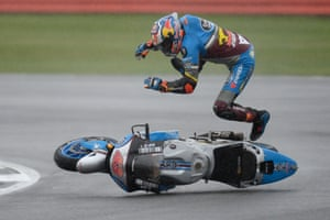 Marc VDS racing team's Australian rider Jack Miller comes off his Honda during qualifying for the British Grand Prix at the Silverstone circuit in Northamptonshire, England.