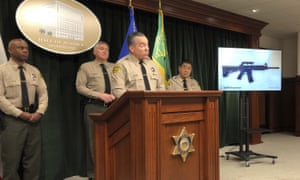 Alex Villanueva, Los Angeles county sheriff, discusses arrest of a 13-year-old boy and the seizure of a rifle and ammunition in downtown Los Angeles, California, on 22 November.