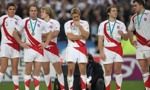 England's players after the defeat by South Africa