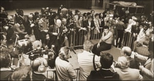Muhammad Ali at a press conference, Madison Square Garden, 1977