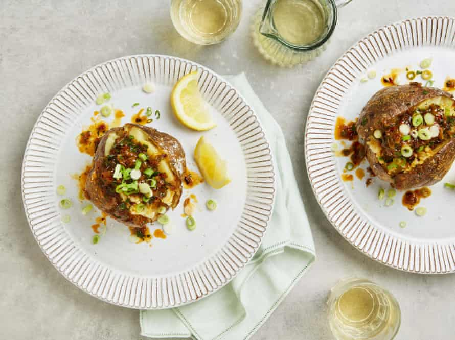 Yotam Ottolenghi's baked potato with onion and harissa butter.