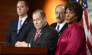 Congressman Eliot Engel (third from left) as House judiciary committee chairman Jerry Nadler speaks to press. Both men represent New York. On Engel's right is Adam Schiff and on his left, Maxine Waters, both leading Democrats in the House, from California.
