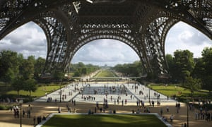 An artist's sketch of the Eiffel Tower plans