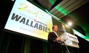 ARU CEO Bill Pulver talks on stage during the Wallabies' farewell lunch at Martin Place in Sydney.
