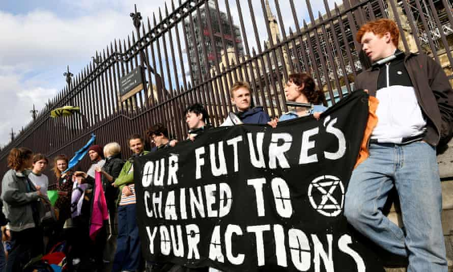 An Extinction Rebellion protest outside the Houses of Parliament, London.