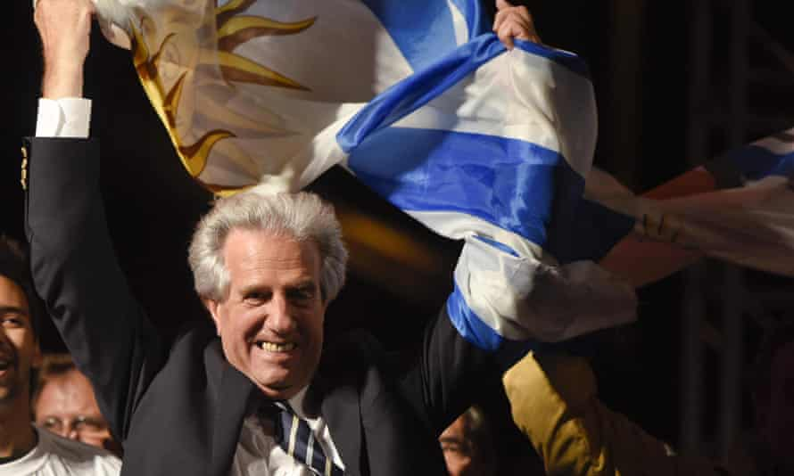 Presidential candidate for the ruling Broad Front party Tabare Vazquez celebrates in Montevideo.