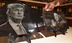 Portraits of US president Donald Trump and North Korean leader Kim Jong-un