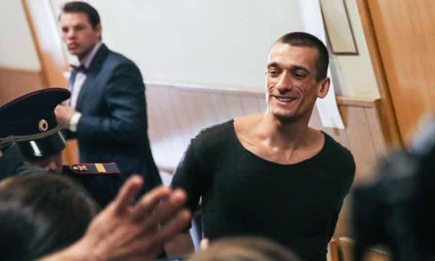 Artist Pavlensky has been fined 500,000 roubles for setting the FSB entrance on fire.