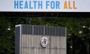 A sign saying health for all outside the headquarters of the World Health Organization in Geneva.