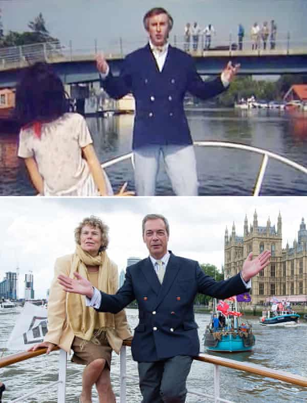 Proof that politics is beyond parody … an Alan Partridge sketch, top, and Nigel Farage campaigning to leave the EU in 2016.