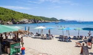 Sunj Beach, a popular sandy beach on Lopud Island