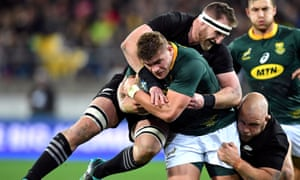 South Africa's Malcolm Marx is tackled by New Zealand captain Kieran Read in September's match.