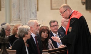Theresa May and Jeremy Corbyn in church