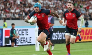 Jack Nowell scores a try after making his return from injury.