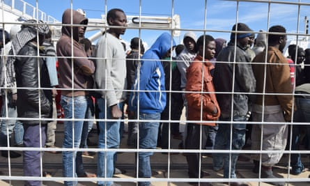 Migrants and refugees arrive at the port of Messina, Sicily