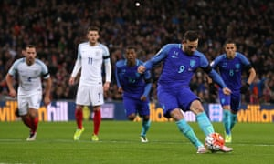 Vincent Janssen strokes home a penalty for Holland against England in March