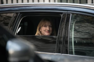 Allegra Stratton, the incoming spokeswoman for the prime minister, arrives in Downing Street, London, England