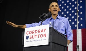 Barack Obama speaks during a campaign rally for Richard Cordray in Cleveland, Ohio.