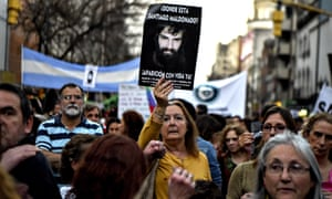 People march during a protest for Santiago Maldonado, who disappeared on 1 August.