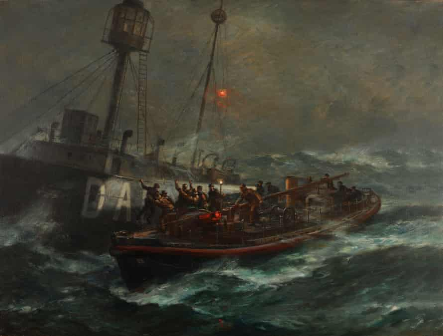 Bernard Gribble's oil painting of the Ballycotton lifeboat and the Daunt Rock rescue, 3 February 1936.