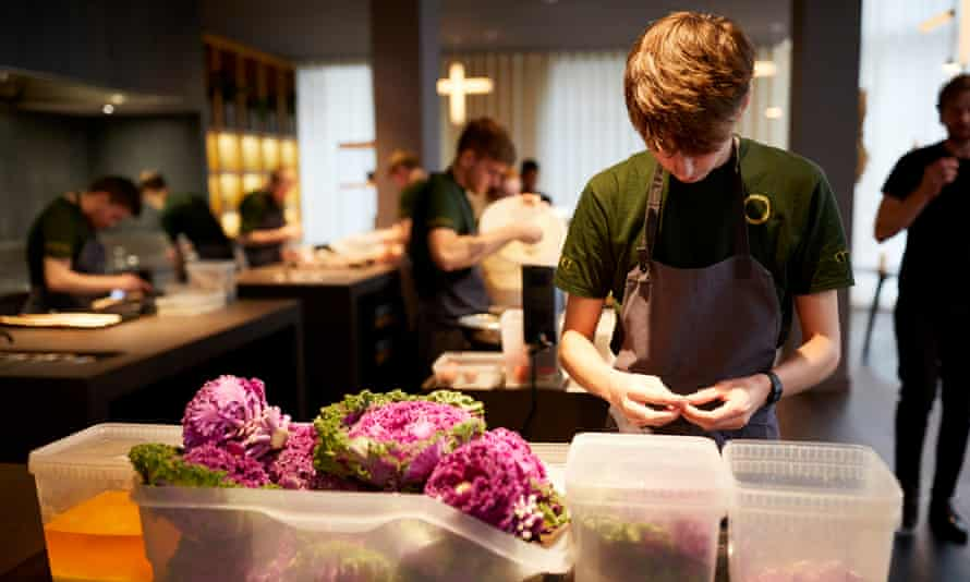Food preparation at Mana in Manchester