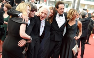 """US director Abel Ferrara (3rd L) and his wife Christina Ferrara (3rd R) attend """"Twin Peaks"""" premiere during the 70th annual Cannes Film Festival at Palais des Festivals on May 25, 2017 in Cannes, France."""