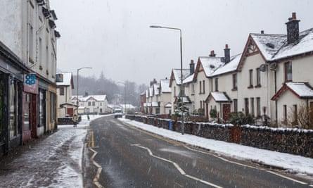 Heavy snowfall and winter conditions in Kinlochleven, Scotland.