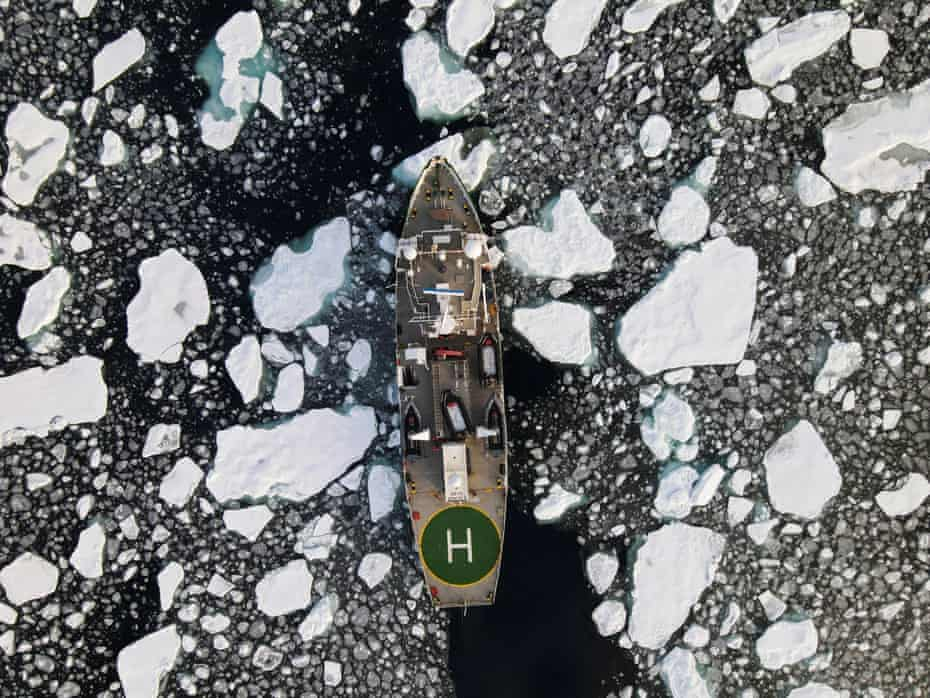 Greenpeace's Arctic Sunrise ship navigates through floating ice in the Arctic Ocean in September.
