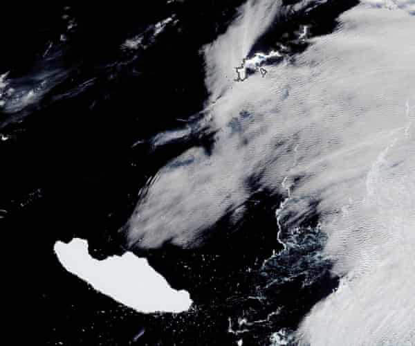 A satellite image of A-68A floating about 230km west-southwest of the South Orkney Islands in Antarctica in April.