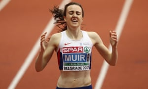 Laura Muir wins the gold medal in the women's 3,000m final at the 2017 European Athletics Indoor Championships in Belgrade.