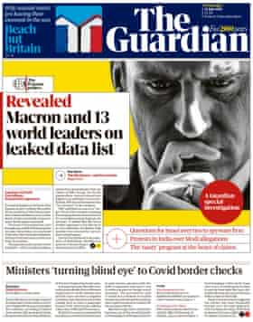 Guardian front page, Wednesday 21 July 2021