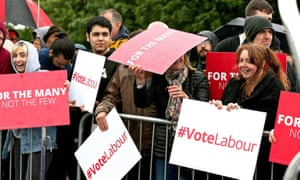 Young people in Hemlington holding Vote Labour signs ahead of 2017 UK election