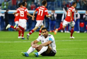 Fathy of Egypt looks dejected.