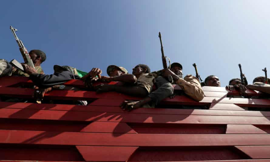 Militia from Ethiopia's Amhara region travel to the Tigray border to face the Tigray People's Liberation Front.