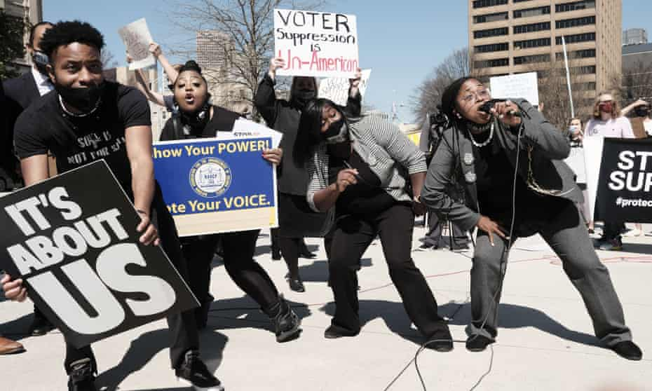 A protest against Georgia voter suppression efforts at the state capitol in Atlanta.
