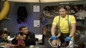 Lister and Rimmer in their bedroom.