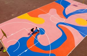 An image of a basketball court by Lois O'Hara, an artist who sees colour as power