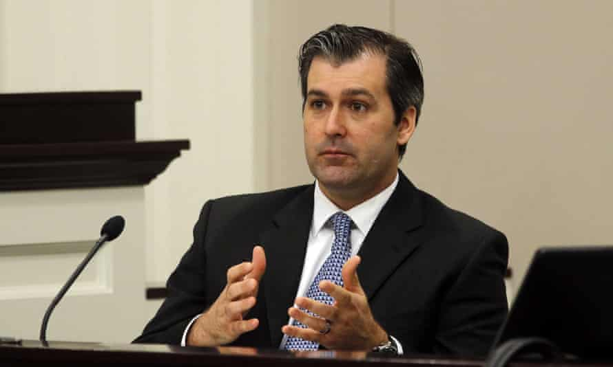 Former North Charleston police officer Michael Slager testifies during his 2016 state murder trial in Charleston, South Carolina, which ended in a mistrial.