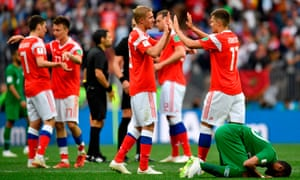 Russia's players celebrate after beating Saudi Arabia 5-0 in the opening match at the Luzhniki Stadium in Moscow.